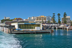 Manly Wharf taken from a ferry in Sydney, Australia