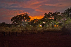 Bush fires in the night in the Karajini National Park, Western Australia