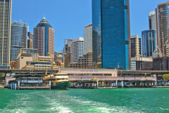 Sydney CBD and Circular Quay taken from a ferry, Sydney, Australia