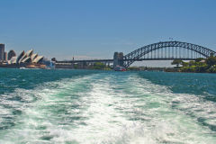 Sydney Harbour Bridge and Opera House taken from a ferry in Sydney, Australia
