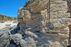 Layered rock at Little Parakeet Bay, Western Australia