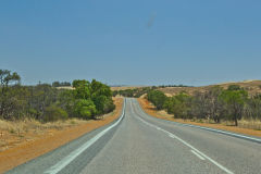 Road scene north of Geralton on the way to Shark Bay in Western Australia