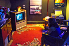 Watching TV at Carnarvon Space and Technology Museum, Carnarvon, Western Australia