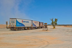 Road Train at the Minilya Bridge Roadhouse north of Carnarvon, Western Australia