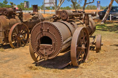 Old farming gear at the Minilya Bridge Roadhouse north of Carnarvon, Western Australia