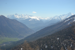 Hiking to the Lago d Arpy in the Aosta Vally in April, Italy