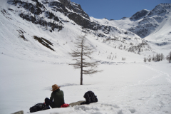 At the Lago d Arpy in the Aosta Vally in April, Italy