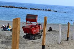 At the beach of Monterosso al Mare in Cinque Terre Italy