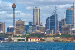 Sydney CBD taken from Sydney Cove on the ferry from Circular Quay to Manly, Sydney, Australia