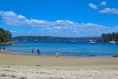Beach scene at Collins Flat Beach in Sydney, Australia