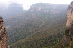 A view of the Blue Mountains at the Three Sisters, Australia