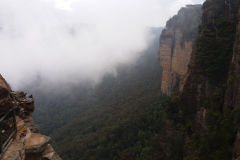 Fog around the Three Sisters in the Blue Mountains, Australia