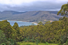 The Eagle Hawk Neck and Pirates Bay in Tasmania. View from Forestier Peninsula.