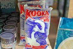 Kooka cooking salt in a shop near Nubeena on Tasman Peninsula Tasmania.