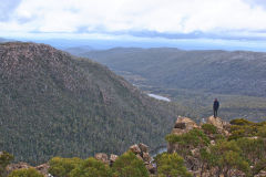 View in direction of Lake Seal and Lake Webster in Mount Field National Park Tasmania
