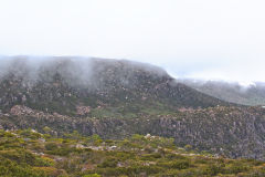 Foggy hills of Rodway Range in Mount Field National Park Tasmania