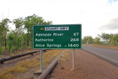 Road sign after Darwin in southern direction in Australia Northern Territory
