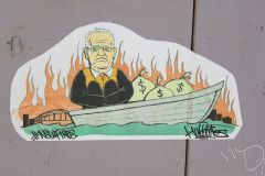 Scott Morrison street art regarding bushfires 2019