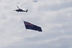 Helicopter and Australian flag at Australia Day 2020 in Sydney
