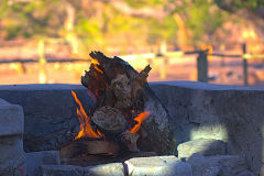 Campfire at Aabadi Mountain camp Namibia