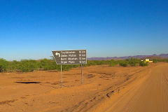 Road sign in the himba region of Namibia.