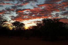 Sunset at Porcupine camp site near Kamanjab in Namibia