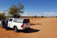 Tropic of Capricorn and Car between Windhoek and Keetmanshoop in Namibia