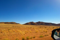 Driving through the Namib Desert in Namibia