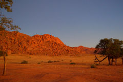 Sunset at Namtib Desert Lodge in the Namib Desert of Namibia