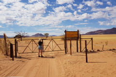 Farm entrance in the Namib Desert in Namibia