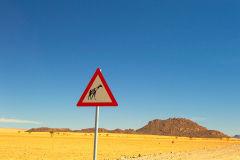 Giraffe road sign in Namib-Naukluft National Park Namibia