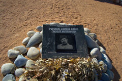 Memorial plate for Moose McGregor in Solitaire Namibia